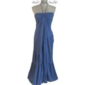 Michael Stars Blue Cotton Tiered Maxi Dress O/S